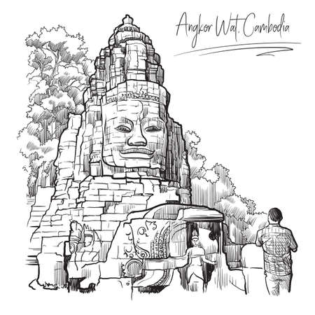 Buddha Temple in Angkor Wat, Cambodia. Engraving style sketch. Vintage design. Travel sketchbook drawing. Ilustrace