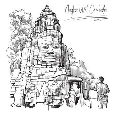 Temple du Bouddha à Angkor Wat, au Cambodge. Croquis de style de gravure. Conception vintage. Dessin de carnet de voyage.