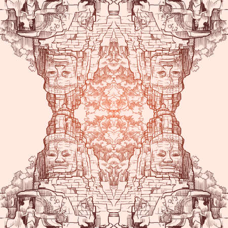 Buddha Temple in Angkor Wat, Cambodia. Engraving style sketch. Vintage design. Seamless pattern.