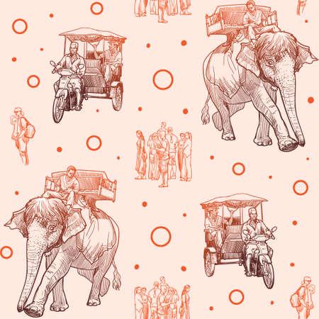 Asian means of transport. Elephants, tuk-tuk and pedestrians, Linear sketch seamless pattern. Vintage design. Ilustrace