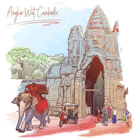 Buddha Gates in Angkor Wat, Cambodia. Painted sketch. Vintage design. Travel sketchbook drawing.