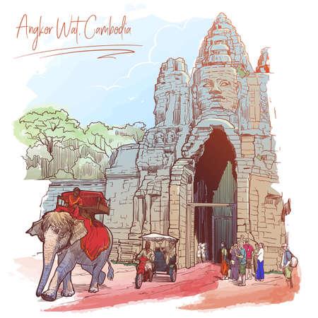 Buddha Gates in Angkor Wat, Cambodia. Painted sketch. Vintage design. Travel sketchbook drawing.