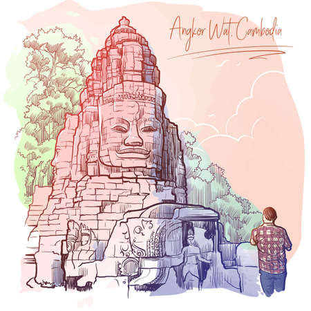 Buddha Temple in Angkor Wat, Cambodia. Painted sketch. Vintage design. Travel sketchbook drawing.