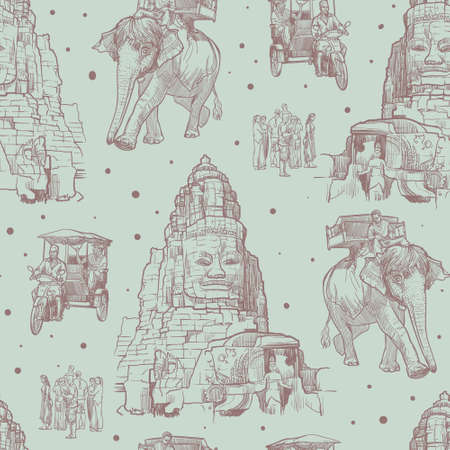 Exploring Angkor Wat on an Elephant back, tuk-tuk or by foot. Linear sketch seamless pattern. Vintage design.