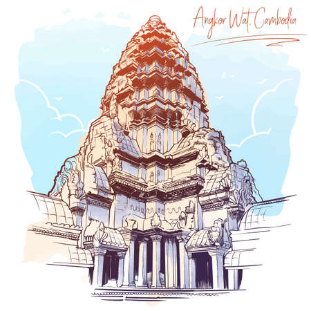 Centerpiece of the Angkor Wat temple complex in Cambodia representing the sacred Mount Meru of the Hindu religion. Painted sketch. Vintage design. Travel sketchbook drawing. Illustration