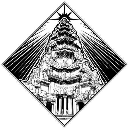Centerpiece of the Angkor Wat temple complex in Cambodia representing the sacred Mount Meru of the Hindu religion. Rhombus shape black and white isolated on white background.