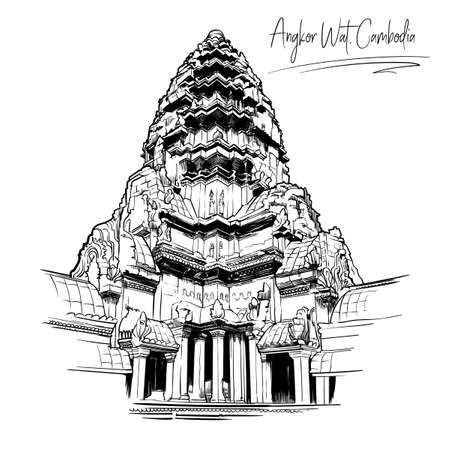 Centerpiece of the Angkor Wat temple complex in Cambodia representing the sacred Mount Meru of the Hindu religion. Black and white sketch isolated on white background. EPS10 vector illustration