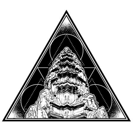 Centerpiece of the Angkor Wat temple complex in Cambodia representing the sacred Mount Meru of the Hindu religion. Triangle shape black and white logo isolated on white background. EPS10 vector Ilustrace