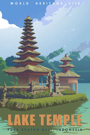 Pura Ulun Danu Bratan, or Bali Lake Temple devoted to the river goddess Dewi Danu. Vintage travel poster. 50-s style. EPS10 vector illustration