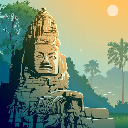 Buddha Temple in Angkor Wat, Cambodia. Vintage travel background. 50-s style. EPS10 vector illustration