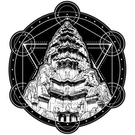 Centerpiece of the Angkor Wat temple complex in Cambodia representing the sacred Mount Meru of the Hindu religion. Circular shape black and white  isolated on white background. EPS10 vector