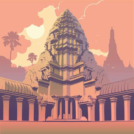 Pièce maîtresse du complexe du temple d'Angkor Wat au Cambodge représentant le mont Meru sacré de la religion hindoue. Panorama du coucher de soleil. Affiche ancienne. Illustration vectorielle EPS10