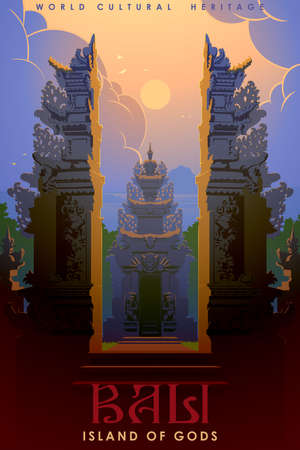 Split Gates also called Candi Bentar usual element of the Hindu temples on Bali. It symbolises two basic principles of the universe - good and evil. Vintage travel poster. EPS10 vector illustration