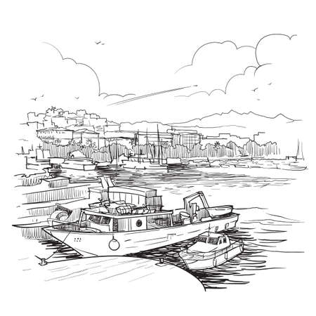 Panorama of the marina with fishing boats. La Spezia, Liguria, Italy. Vintage design. Linear sketch isolated on white background. EPS10 vector illustration