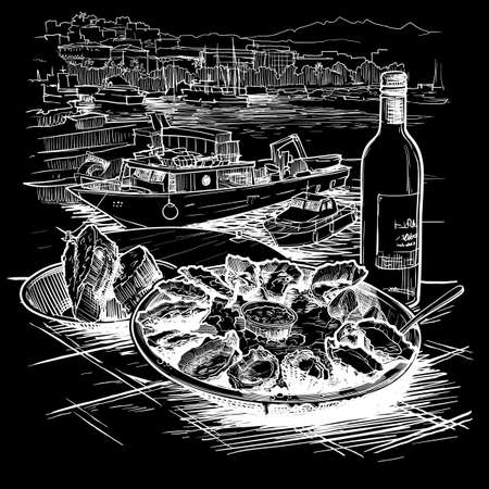 Oysters served on ice with a bottle of white wine and fresh bread. Panorama of the marina with boats on a background. La Spezia, Italy. Chalk on a blackboard. EPS10 vector illustration