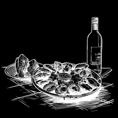 Oysters served on ice with a bottle of white wine and fresh bread. Restaurant menu template . Chalk on a blackboard. EPS10 vector illustration