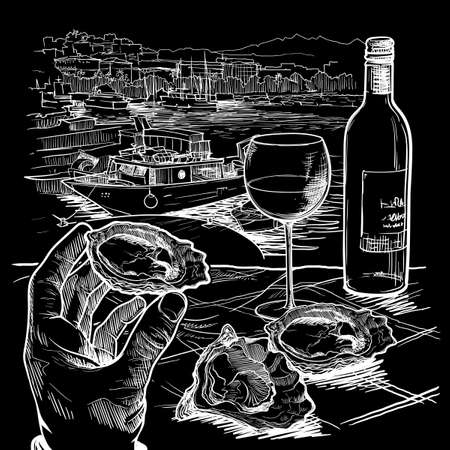 Still life drawing witha a hand holding oyster a bottle of white wine and a couple of oysters laying on a table. Panorama of La Spezia, Italy. Chalk on a blackboard. EPS10 vector illustration