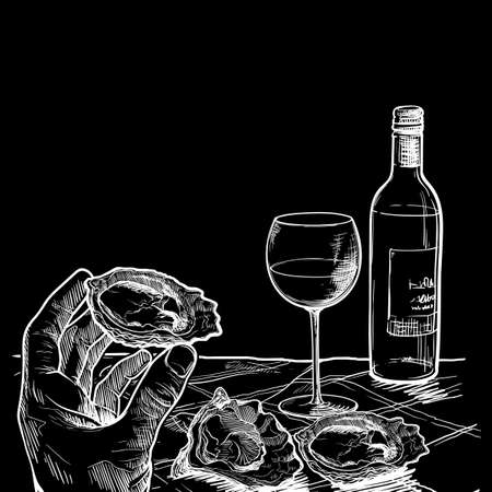 Still life drawing witha a hand holding oyster bottle of white wine and a couple of oysters laying on a table. Template for a restaurant menu. Chalk on a blackboard. EPS10 vector illustration
