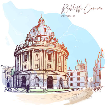 Radcliffe Camera. Westminster, London, UK. Excellent example of the Palladian architecture. Vintage design. Watercolor painted sketch. EPS10 vector illustration