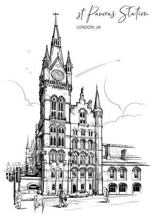 St. Pancras railway station, London, UK. Engraving style sketch. Vintage design. Travel sketchbook drawing.  vector illustration