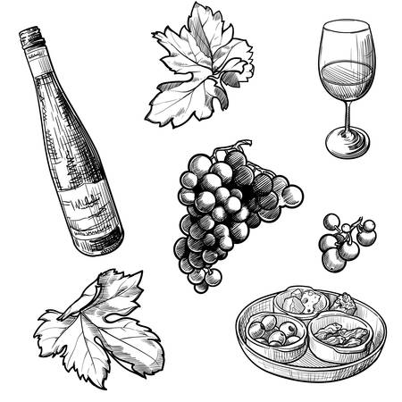Georgian wine culture seamless pattern. Wine bottle and glass, grapevine leaves and berries clasters.  vector illustration