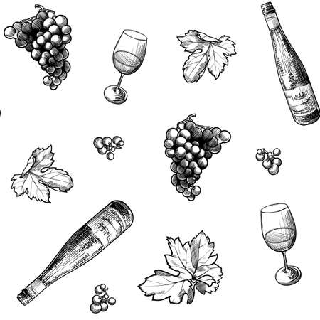 Georgian wine culture seamless pattern. Wine bottle and glass, grapevine leaves and berries clasters. vector illustration Vettoriali