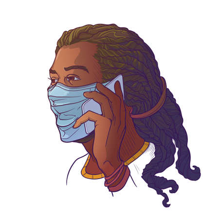 Black man wearing medical protection face mask and speaking on the phone. Consider social distancing as a protectionagainst covid-19. Painted sketch, isolated on a white background.  vector. Ilustração