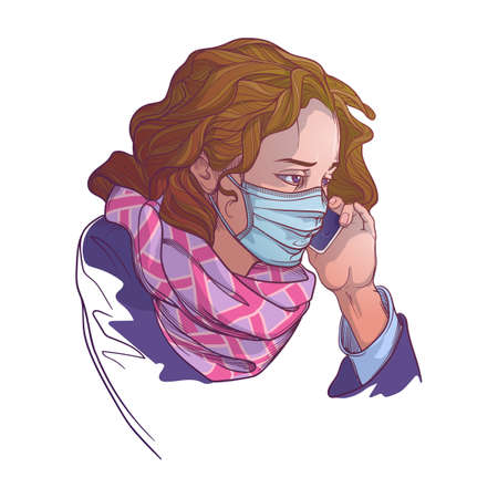 White woman wearing medical protection face mask and speaking on the phone. Consider social distancing as a protectionagainst covid-19. Painted sketch, isolated on a white background.  vector. Ilustração