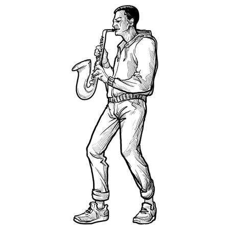 Young white man playing saxophone. Full body view. Linear sketch style drawing isolated on white background. EPS10 vector illustration. Ilustração