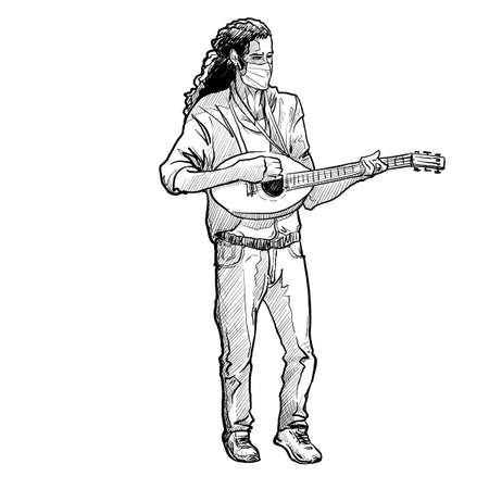 Young white man wearing a protection medical mask while playing mandolin. Full body front view. covid-19 pandemy. Linear sketch style drawing isolated on white background. EPS10 vector illustration. Ilustração