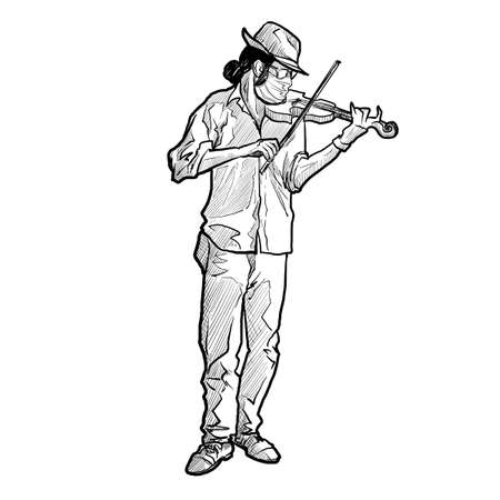 Young white man wearing a protection medical mask while playing violin. Full body front view. covid-19 pandemy. Linear sketch style drawing isolated on white background. EPS10 vector illustration. Ilustração