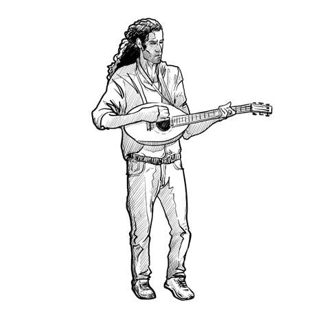 Young white man with long hair playing mandolin. Full body front view. Linear sketch style drawing isolated on white background. EPS10 vector illustration. Ilustração