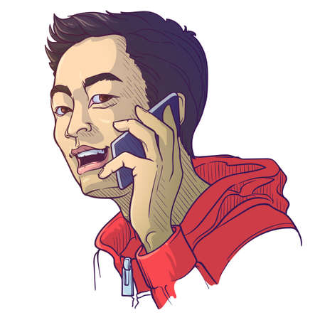 Asian man speaking on the phone. Painted sketch, isolated on a white background. EPS10 vector illustration