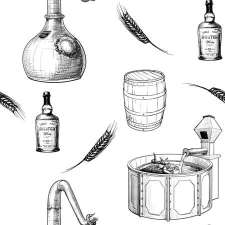 Whiskey making process from grain to bottle. Pieces equipment. Seamless pattern. Sketch style drawing on white background. vector illustration Ilustración de vector
