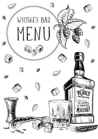Menu templated for the whisky related businesses. Black and white sketch imitating chalk drawing on a blackboard. Sketch style drawing  on white background.  vector illustration. Ilustração
