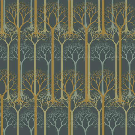Seamless pattern  barren tree silhouettes. Hand drawn natural illustration  stylized trees. Pastel colors. Park and garden concept. Nature background.   vector illustration