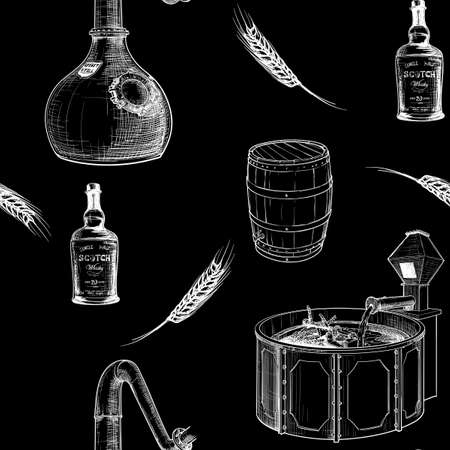 Whiskey making process from grain to bottle. Pieces  equipment. Seamless pattern. White line sketch  on black background.  vector illustration. Illustration