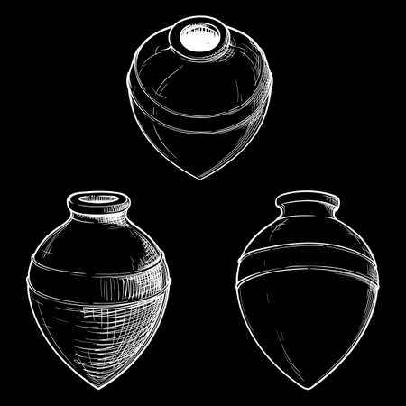 Kvevri - aincient type  container for liquid substancies used in Georgia to store and mature wine. Traditional Georgian wine making. White line sketch  on black background.  vector.
