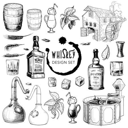 Whiskey related design  set. Useful for bar pub or distillery branding and decoration. Hand drawn sketch style objects  on white background.  vector illustration