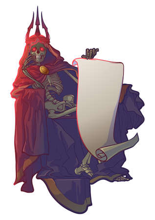 Death Toll. Human skeleton wrapped in cloak with hood and a crown sitting on a throne holding a blank parchment scroll. EPS10 vector illustration
