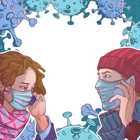 Young European couple wearing medical protection face masks and speaking on the phone. Social distancing as a protection against covid-19.