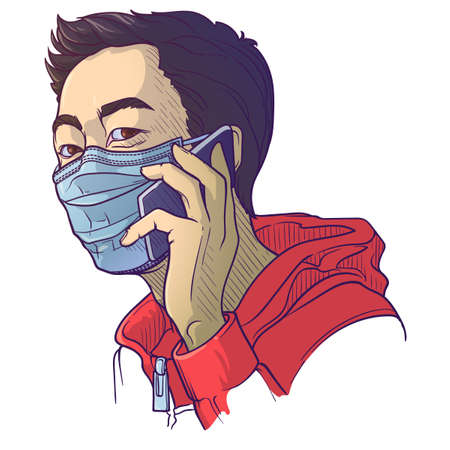 Asian man wearing medical protection face mask and speaking on the phone. Social distancing as a protectionagainst covid-19.
