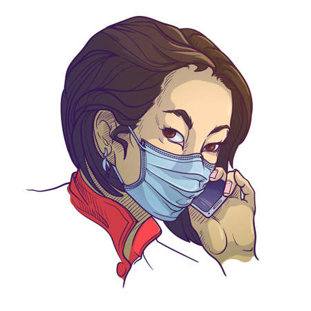 Young Asian woman wearing medical protection face mask and speaking on the phone.