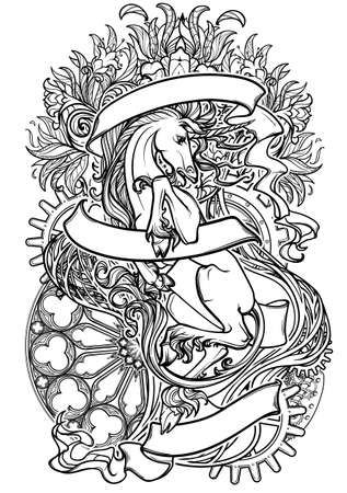 Intricate drawing of hte legendary Unicorn on a decorative flames and plants ornament with a motivation motto. Black line drawing isolated on white background. Vintage logo. EPS10 vector illustration