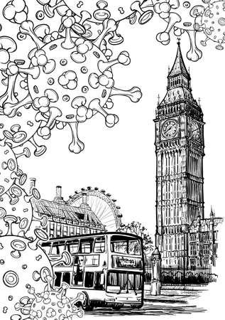 British national quarantine background. London Iconic view with Big Ben and doubledecker bus with coronavirus particles. Black line drawing isolated on white background. EPS10 vector illustration Illustration