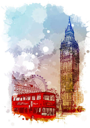 Parliament square, Westminster, London, UK. Vintage design. Linear sketch on a watercolor textured background. EPS10 vector illustration