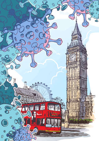 British national quarantine background. London Iconic view with Big Ben and doubledecker bus with coronavirus particles. Painted sketch isolated on white background. EPS10 vector illustration Illustration