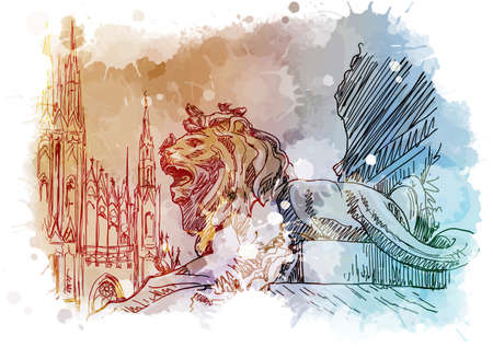 Monument for Victor Emmanuel with lions on a Cathedral Square in Milan, Italy. Vintage design. Linear sketch on a watercolor textured background. EPS10 vector illustration