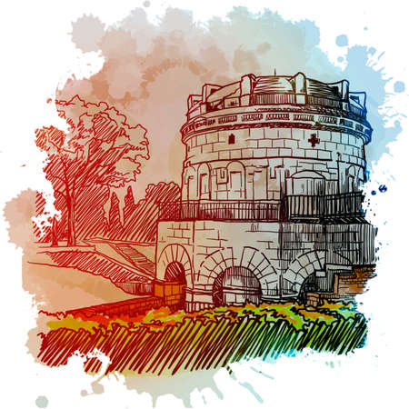 Mausoleum of Theodoric, Ravenna, Italy. Vintage design. Linear sketch on a watercolor textured background. EPS10 vector illustration Illustration