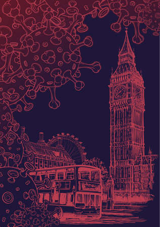 British national quarantine background. London Iconic view with Big Ben and doubledecker bus with coronavirus particles. Monochrome line drawing isolated on dark blue background. Illustration